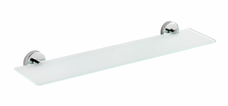 Polita din sticla Capri, Wenko, 60 x 14.5 x 6 cm, inox/sticla, argintiu/alb