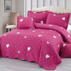 Set Cuvertura Bumbac + 4 Fete de Perne, Pink Love - E-S63