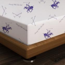 Cearceaf de pat dublu BHPC 029 - Lilac, 240x260 cm, 100% bumbac ranforce, Beverly Hills Polo Club, alb/lila