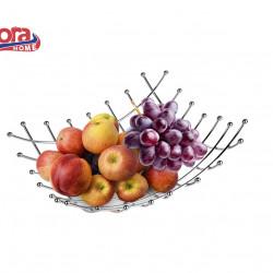 Cos pentru fructe Vanora, 26x26x9 cm, otel cromat, argintiu