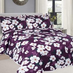 Cuvertura de pat + 2 Fete de Perne, Bumbac Tip Finet, Imprimata, Pat 2 persoane, CFI-88