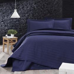 Cuvertura de pat dubla, EnLora Home, Monart - Dark Blue, 65% bumbac, 35% poliester, 90 gr/m², 220x240 cm, bleumarin