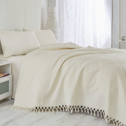Cuvertura de pat dubla, Saheser, 120 - Cream, 220x240 cm, 100% bumbac, 340 gr/m², crem