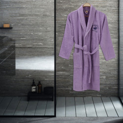 Halat de baie unisex, Beverly Hills Polo Club, 100% bumbac, XS/S, lila