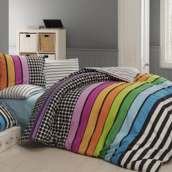 Lenjerie de pat dubla Colored, Majoli Home Collection, 4 piese, 200x220 cm, 100% bumbac ranforce, multicolor