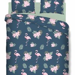 Lenjerie de pat dubla Flamingo, Bedora, 4 piese, Bumbac Ranforce