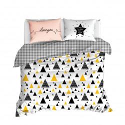 Lenjerie de pat dubla I love - Black a Yellow, EnLora Home, 3 piese, bumbac ranforce, negru/galben