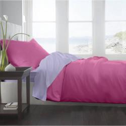 Lenjerie de pat dubla King Size Lila & Rosebloom, 4 piese, 220 x 250 cm, 100% bumbac, roz/mov