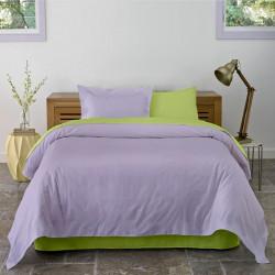Lenjerie de pat dubla King Size Lime & Lila, 4 piese, 220 x 250 cm, 100% bumbac, verde lime/lila