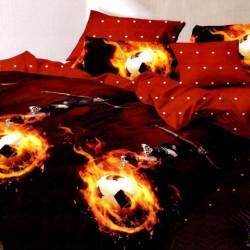 Lenjerie de Pat Finet Satinat, 6 Piese, Fire Football, FNM-106