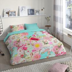 Lenjerie de pat pentru doua persoane, Good Morning Sandy, 100% bumbac, 3 piese, multicolora