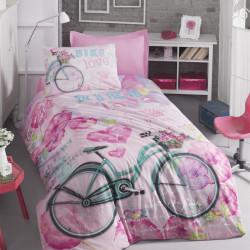 Lenjerie de pat pentru o persoana, 100% bumbac ranforce, 3 piese, Cotton Box, Bike Pink, multicolor