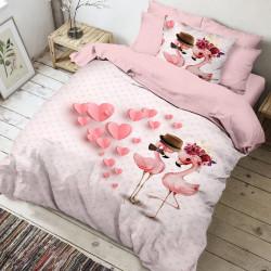 Lenjerie de pat pentru o persoana, 3 piese, The Club Cotton, Amoro, bumbac ranforce, 145 TC, multicolor