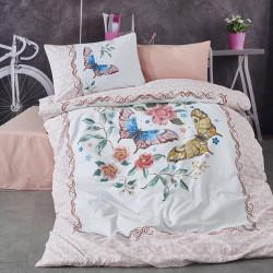 Lenjerie de pat pentru o persoana, 3 piese, The Club Cotton, Roxy, bumbac ranforce, 145 TC, multicolor