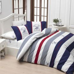 Lenjerie de pat pentru o persoana BHPC 001 - Dark Blue, 100% bumbac ranforce, Beverly Hills Polo Club, multicolor