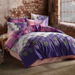 Lenjerie de pat pentru o persoana Dantel, Majoli Home Collection, 3 piese, 160x240 cm, 100% bumbac ranforce, alb/mov