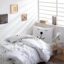 Lenjerie de pat pentru o persoana, EnLora Home, Eles White, 3 piese, 100% bumbac ranforce, alb/negru