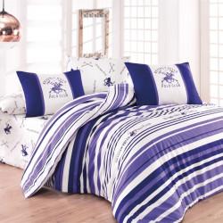 Lenjerie de pat pentru o persoana, Lilac Stripes, Beverly Hills Polo Club, 3 piese, 160 x 240 cm, 100% bumbac ranforce, alb/mov