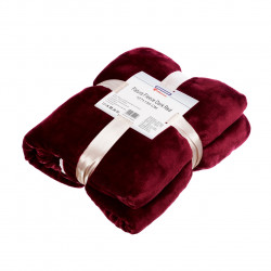 Patura fleece cu blanita Dark Red, Heinner Home, 127x150 cm, 100% poliester, visiniu