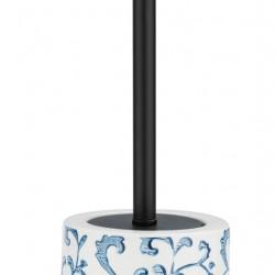 Perie pentru toaleta cu suport Mirabello, Wenko, 39.5 x 11.5 cm, ceramica, alb/albastru