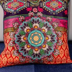 Perna Decorativa 50x50 cm, Puf siliconic + Catifea, Multicolor, Z08-10