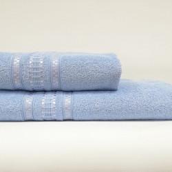 Set 2 prosoape de baie BridgeV1, Class, 100% bumbac, albastru