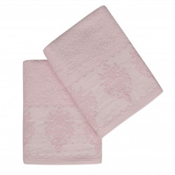 Set 2 prosoape de maini 50x90 cm, 100% bumbac, Soft Kiss, Buket, roz