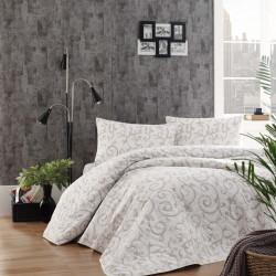 Set cuvertura de pat dubla matlasata, Eponj Home, Merle Cream, 3 piese, 65% bumbac, 35% poliester, crem/alb
