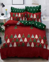 Set Lenjerie Crăciun, Bumbac Tip Finet, Cu Elastic, Pat 2 Persoane, Many Trees, FNJEC-05