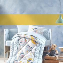 Set lenjerie de pat si pilota pentru copii Bear - Blue, Cotton Box, 6 piese, bumbac ranforce, multicolor