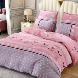Set Lenjerie Pufoasa Cocolino cu 2 Fete, 6 Piese, Pat 2 Persoane, Pink Cats, LCJ6-24