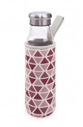 Sticla cu husa termoizolanta, Iris Barcelona, 550 ml, sticla borosilicata/neopren, roz