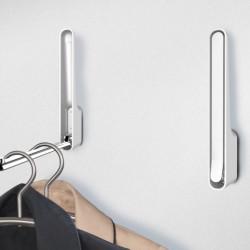 Agatatoare cuier pliabil Premium Omega, WENKO, 3.5 x 2.5 x 18 cm, metal cromat/plastic/magnet, alb/argintiu
