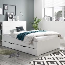 Ansamblu pat + panou cu spatiu de depozitare, Jaris, 145 x 110 x 235 cm, PAL, alb