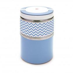 Caserola termica dubla Lunchbox, Iris Barcelona, 900 ml, pereti dubli, inox/polipropilena, albastru