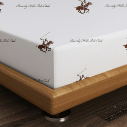 Cearceaf de pat pentru o persoana BHPC 004 - Brown, Beverly Hills Polo Club, 180x240 cm, 100% bumbac ranforce, alb/maro