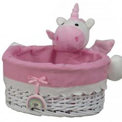Cos M Unicorn Bedora, salcie/material textil, alb/roz