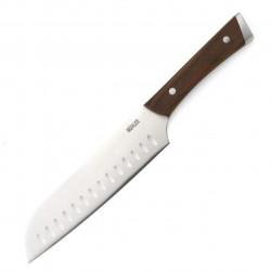 Cutit santoku Muhler, MR-2518SS, 18 cm, inox/lemn de frasin