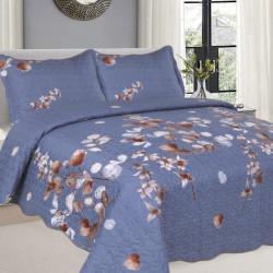 Cuvertura de pat + 2 Fete de Perne, Bumbac Tip Finet, Imprimata, Pat 2 persoane, CFI-89