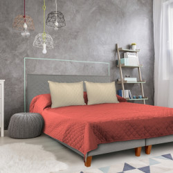Cuvertura matlasata cu 2 fete Alcam, 210 x 220 cm, Coral/Vanila