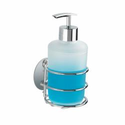 Dozator sapun lichid Turbo-Loc®, Wenko, 7.5 x 16.5 cm, inox/polipropilena, argintiu/alb