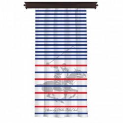 Draperie Beverly Hills Polo Club, 140x260 cm, 100% poliester, alb/albastru/rosu