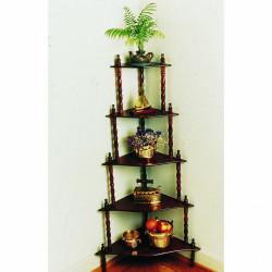 Etajera de colt din lemn Woodie, Jocca, 134x38x38 cm, lemn, maro