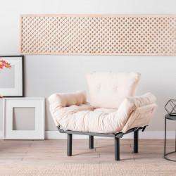 Fotoliu extensibil Nitta Single, Futon,135x70 cm,metal, crem