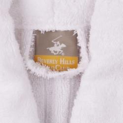 Halat de baie unisex, Beverly Hills Polo Club, 100% bumbac, XS/S, White/Maroon