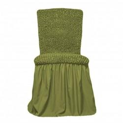 Huse Elastice si Creponate cu Volane pentru Scaune - 6 Piese - Verde