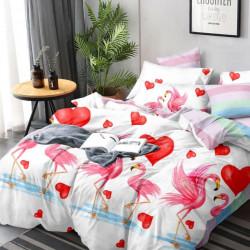 Lenjerie de Pat din Finet, Pat 2 Persoane, Lovely Flamingo, FNJ-216