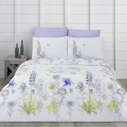 Lenjerie de pat dubla Blossom, Majoli Home Collection, 4 piese, 200x220 cm, 100% bumbac ranforce, multicolor