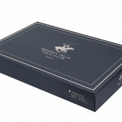 Lenjerie de pat dubla Red Navy, Beverly Hills Polo Club, 4 piese, 240 x 260 cm, 100% bumbac ranforce, alb/somon/crem