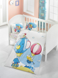 Lenjerie de pat pentru copii, Victoria, Macera, 4 piese, 100% bumbac ranforce, multicolor